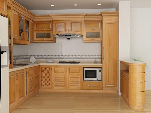 Tu bep go soi my dep cho chung cu111 Thiết kế tủ bếp gỗ sồi mỹ đẹp cho nhà chung cư