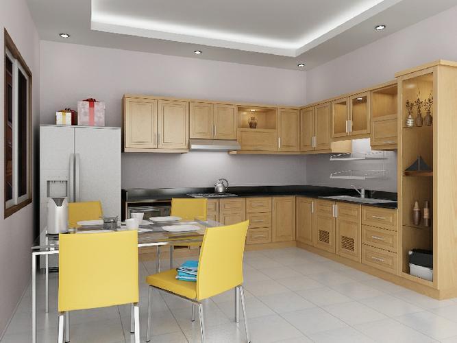 Tu bep go soi my dep cho chung cu123456 Thiết kế tủ bếp gỗ sồi mỹ đẹp cho nhà chung cư