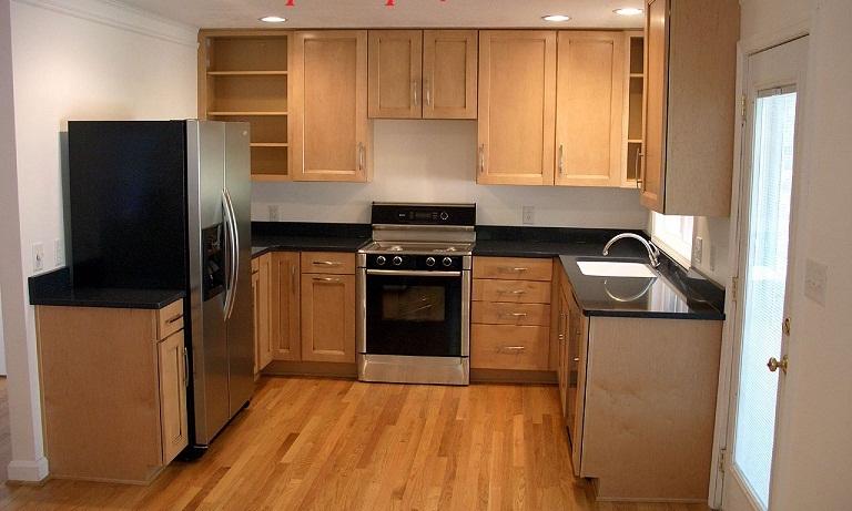 Tủ bếp gỗ sồi mỹ hiện đại kiểu chữ U