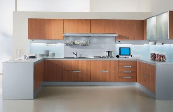 Tủ bếp gỗ Veneer hiện đại kiểu chữ U
