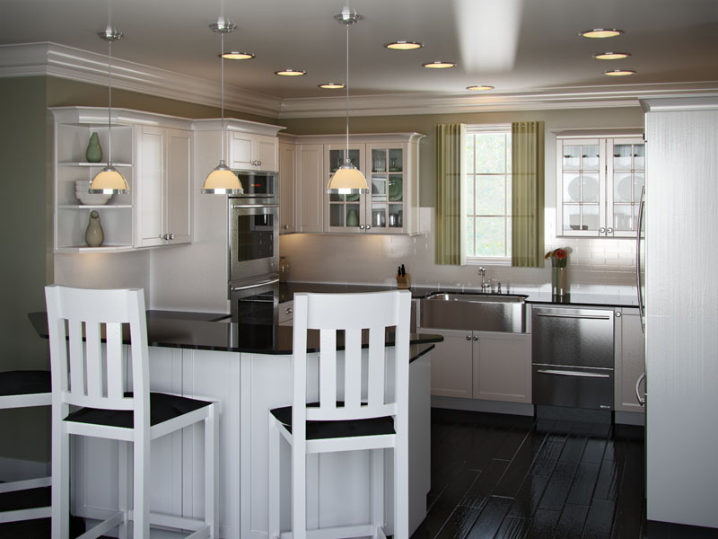 Tủ bếp kiểu chữ G hiện đại bằng chất liệu gỗ công nghiệp