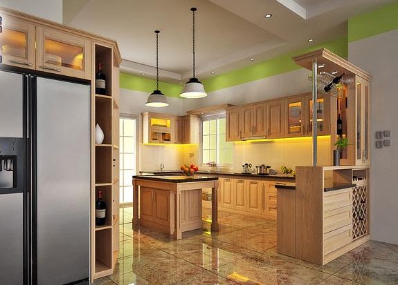 Mẫu tủ bếp gỗ sồi mỹ hiện đại