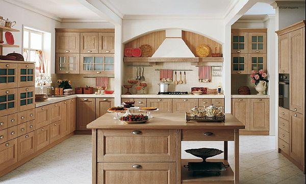 Thiết kế tủ bếp gỗ sồi Nga đẹp có bàn đảo