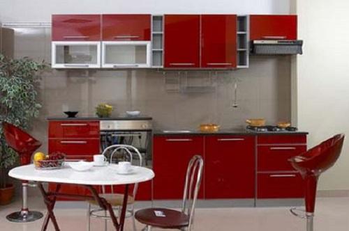 tu bep chu I mau do Cùng điểm qua những mẫu tủ bếp chữ I màu đỏ ưa thích