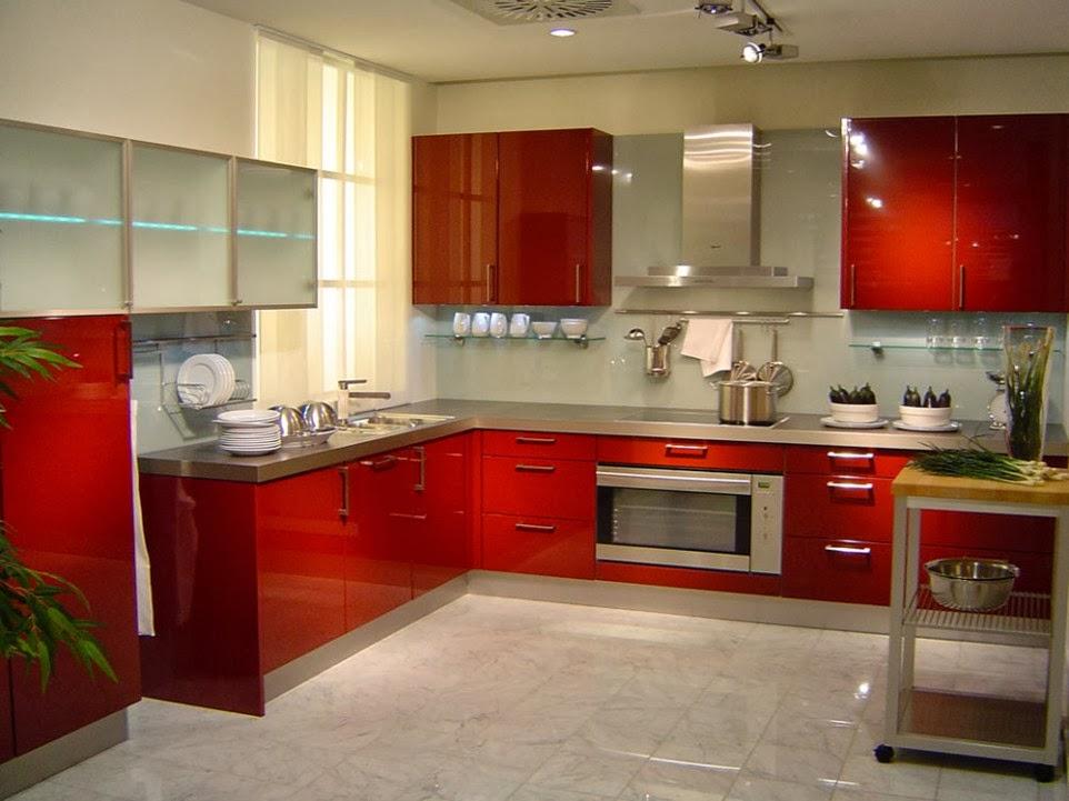 Tủ bếp kiểu chữ L màu đỏ được lựa chọn nhiều