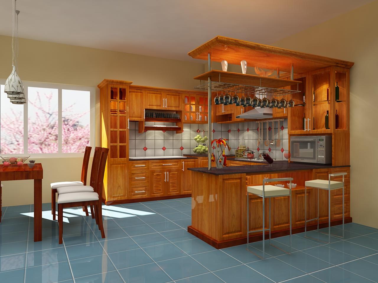 Tủ bếp có quầy bar hiện đại thể hiện đẳng cấp vượt trội