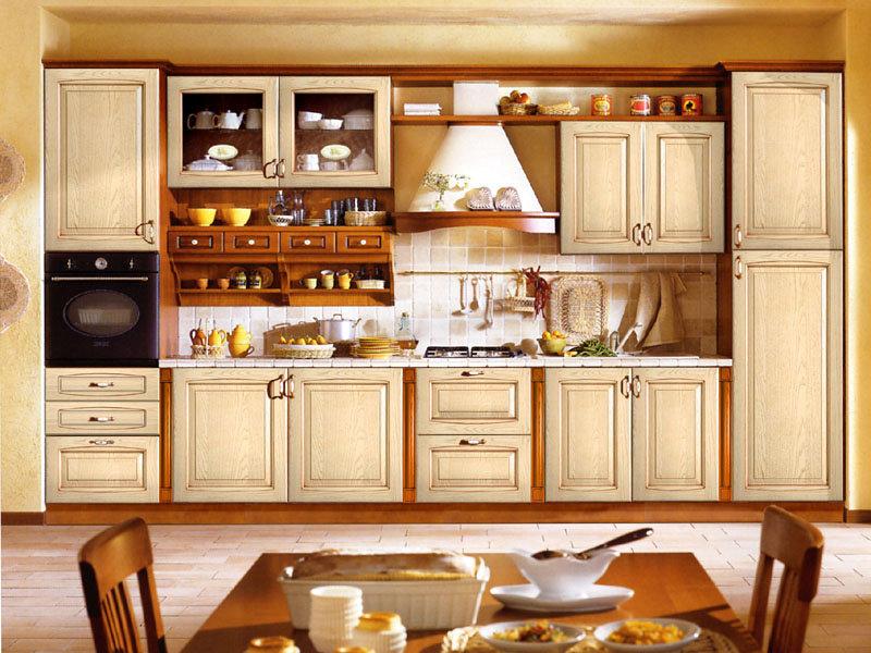 Tủ bếp gỗ sồi màu trắng thanh lịch