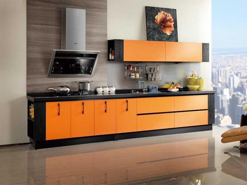 Gỗ công nghiệp màu cam nổi bật mang đến không gian trẻ trung, sáng tạo khi nấu nướng