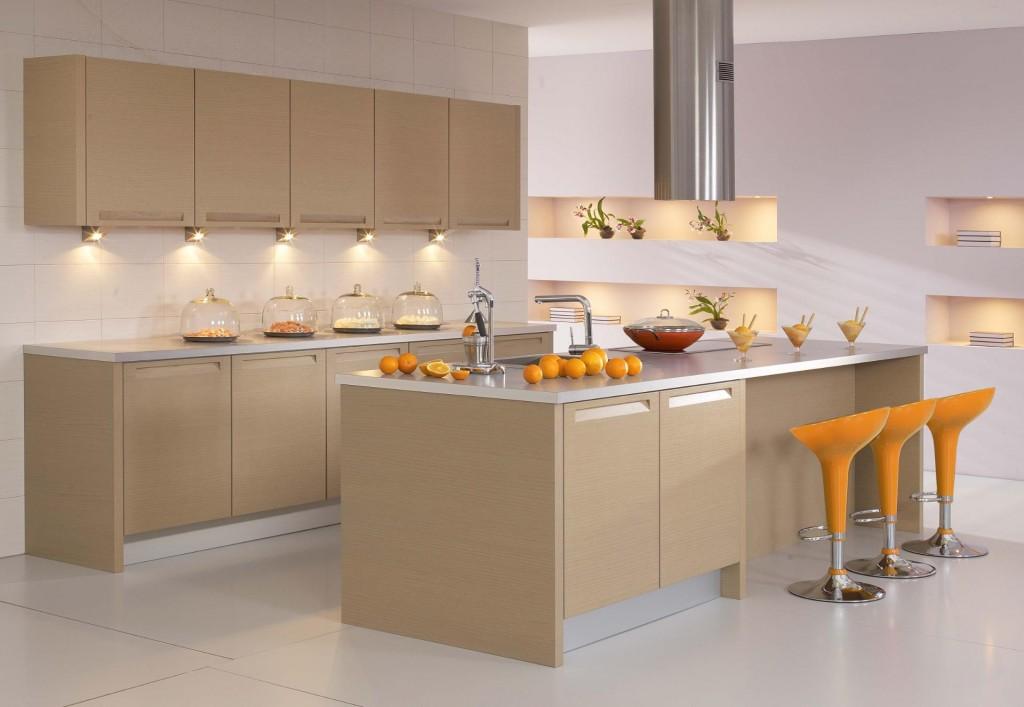 Màu gỗ thanh lịch, nhẹ nhàng tạo cảm giác thoáng mát khi nấu nướng